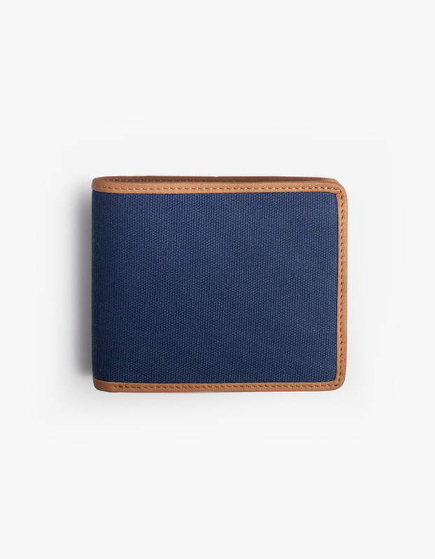 Leather-Trimmed Wallets - Navy