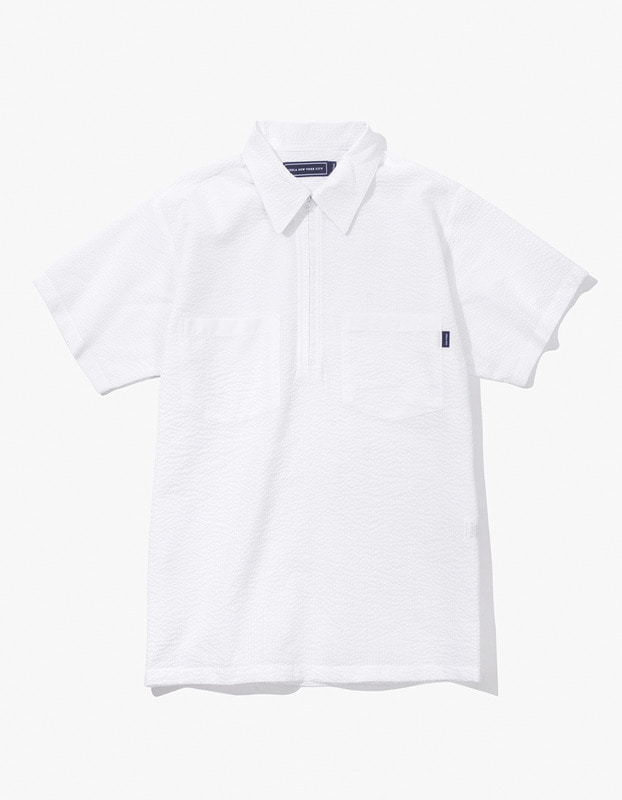Seersucker Half Zip Shirt - White