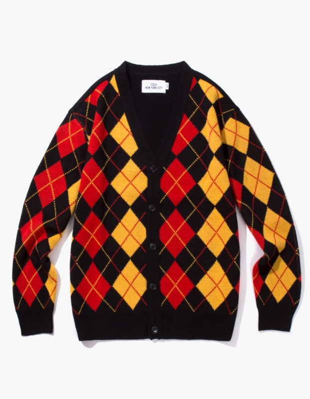 Argyle Check Cardigan - Black