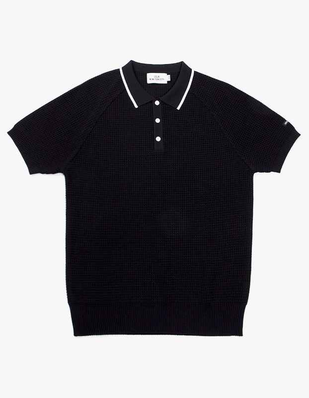 Raglan Polo knit - Black