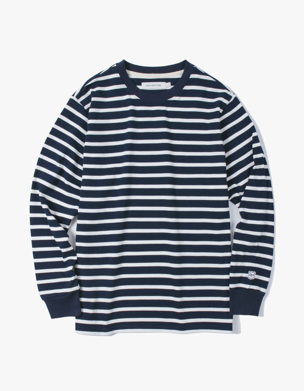 Stripe L/S Tee - Navy / White