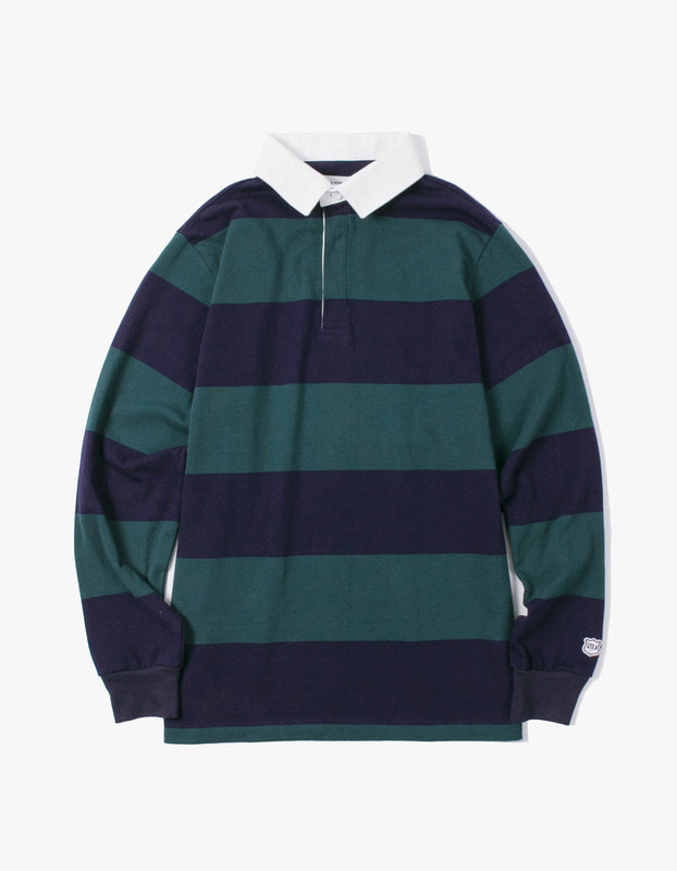 Stripe Rugby Tee - Green / Navy