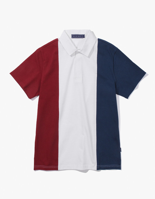 Tricolor Rugby S/S Tee - Burgundy/Navy