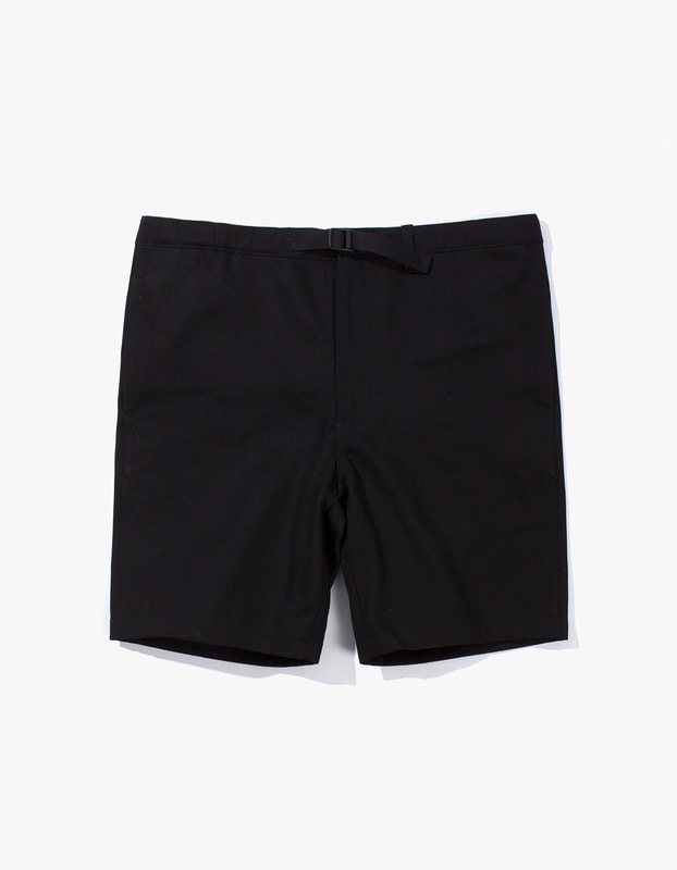 Cotton Twill Belted Short - Black