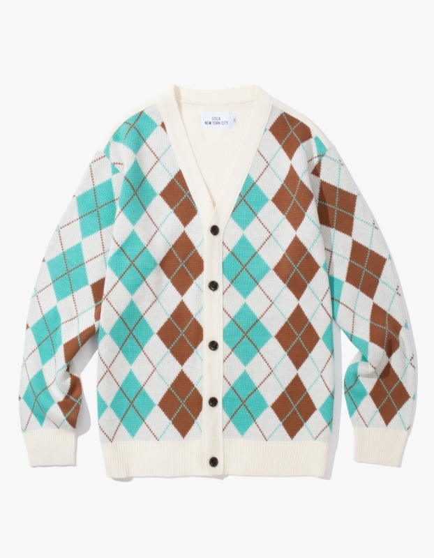 Argyle Check Cardigan - Cream