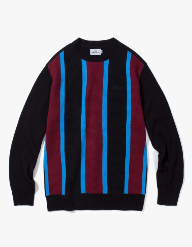 Vertical Striped Sweater - Black