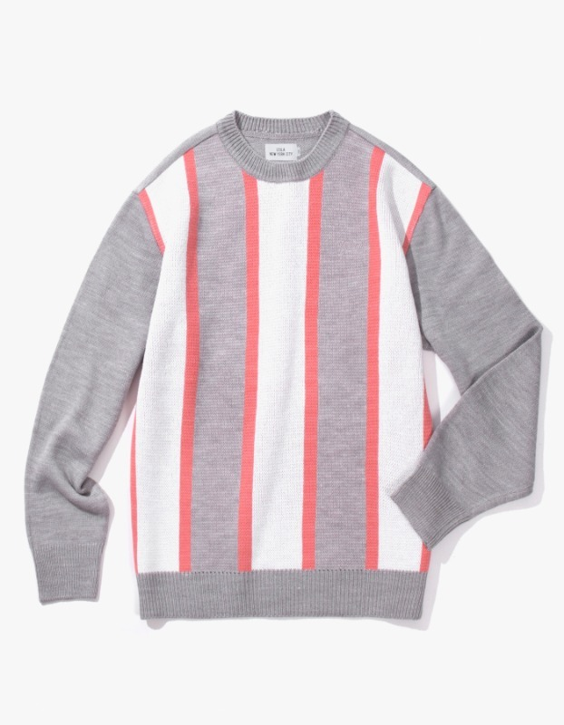 Vertical Striped Sweater - Grey