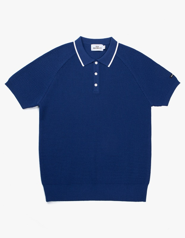 Raglan Polo knit - Blue