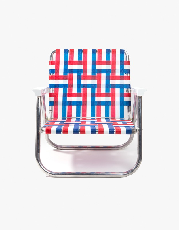 Old Glory Beach Chair with White Arms