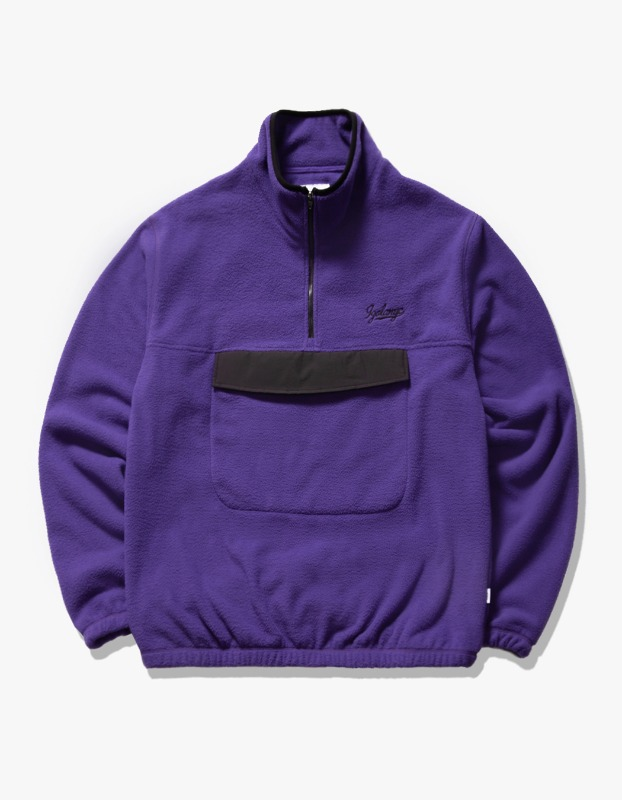 Fleece Mock Neck Anorak - Purple