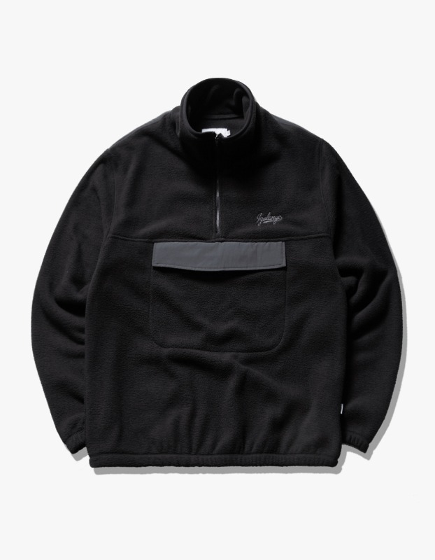 Fleece Mock Neck Anorak - Black