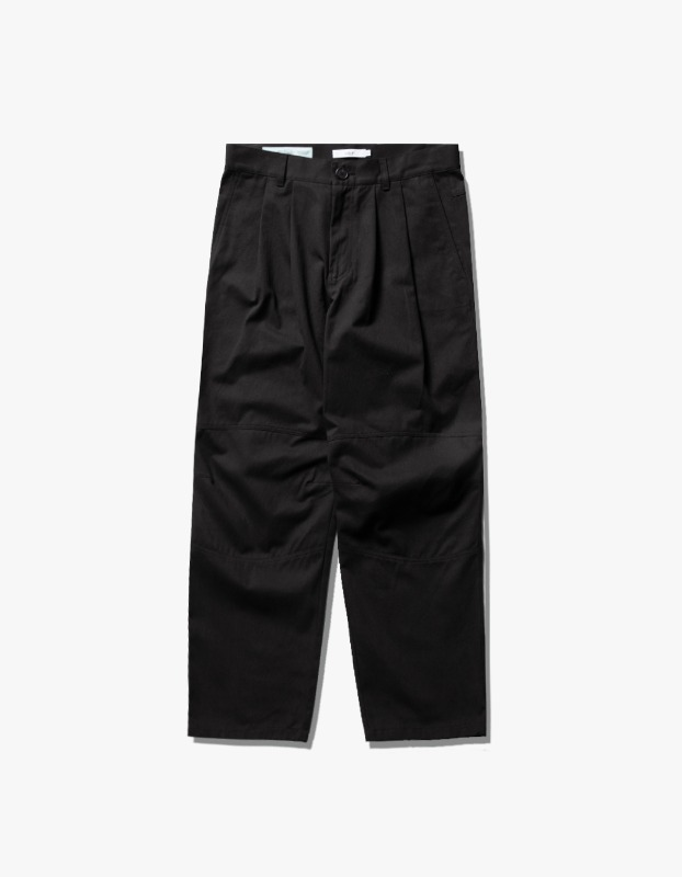 Wide Tuck Twill Pants - Black