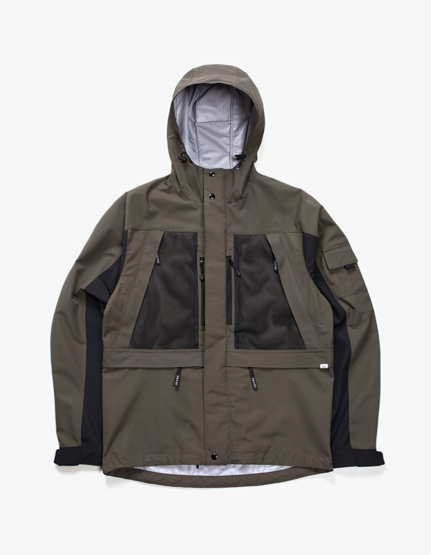 3 Layer Mountain Parka - Olive/Grey