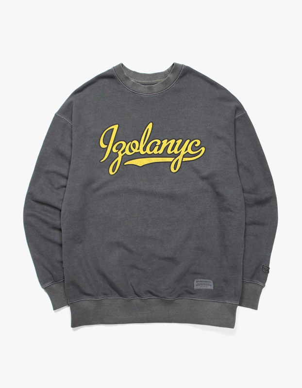 Over Dyed Varsity Crewneck - Charcoal