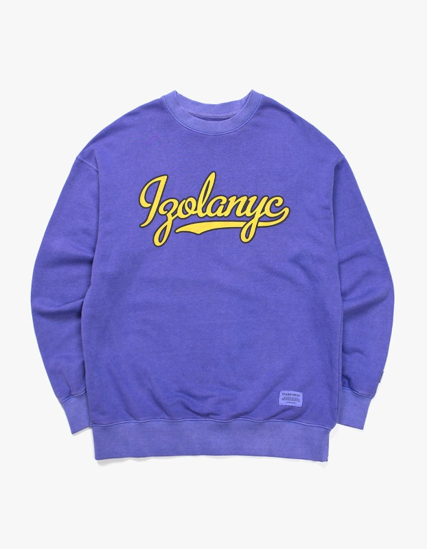 Over Dyed Varsity Crewneck - Purple