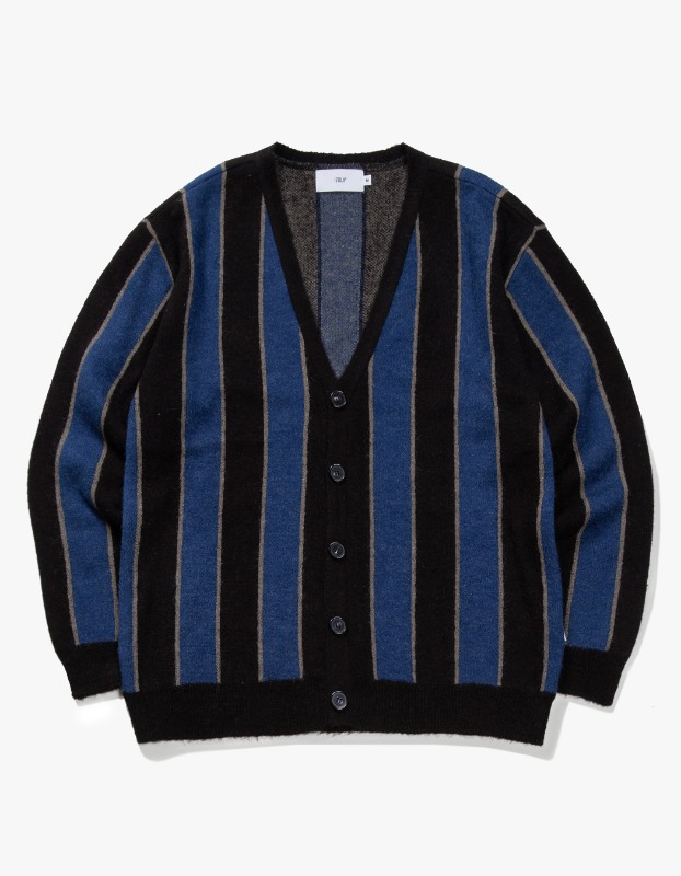 Striped Mohair Cardigan - Blue/Black